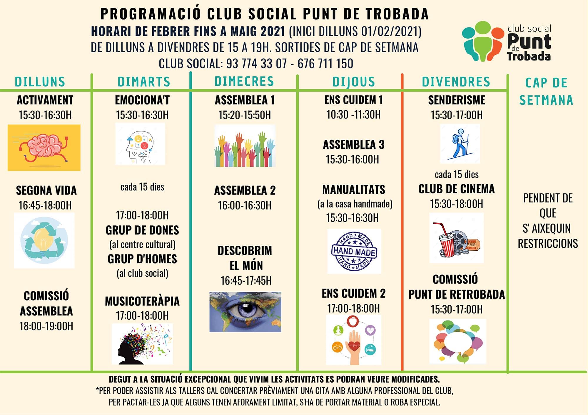 Programació del Club Social Punt de Trobada - Febrer/Maig