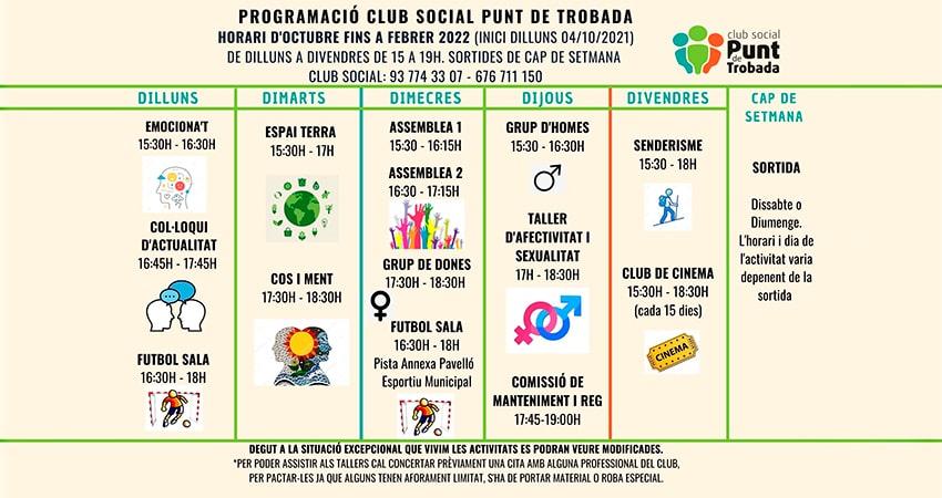 Nous horaris Club Social Punt de Trobada Octubre 21 a Febrer 22